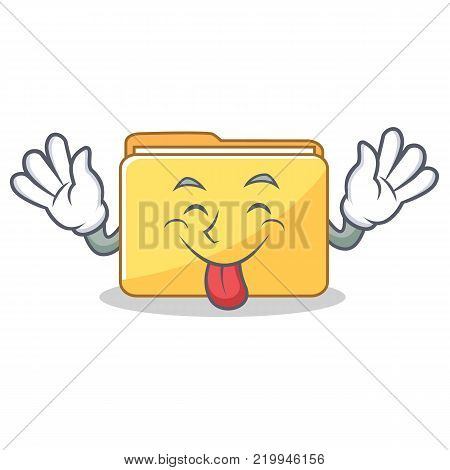 Tongue out folder character cartoon style vector illustration