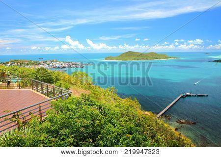 Viewpoint and beautiful blue seascape at Khao Ma Cho Pier Samaesan Chonburi province, Gulf of Thailand.