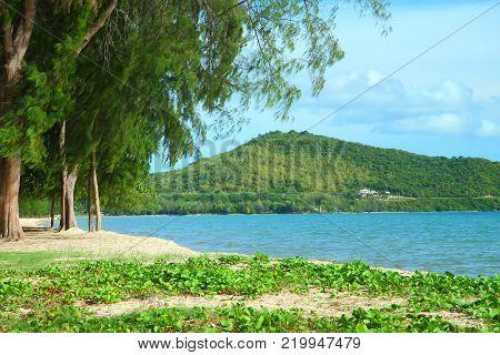 Clear blue sea at Dongtan beach Sattahip Chonburi province, Gulf of Thailand.