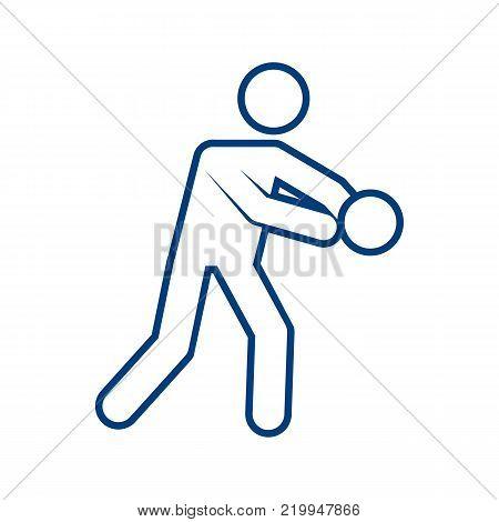 Basketball Dribbling Outline Sport Figure Symbol Vector Illustration Graphic