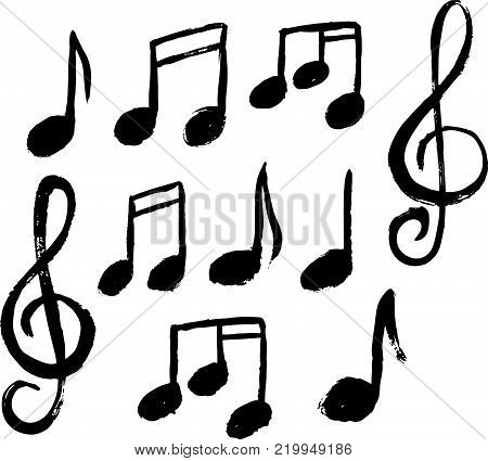 A set of music notes icon..Music note background..Hand drawn music notes vector Illustration