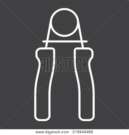 Hand expander line icon, fitness and sport, Hand grip sign vector graphics, a linear pattern on a black background, eps 10. poster