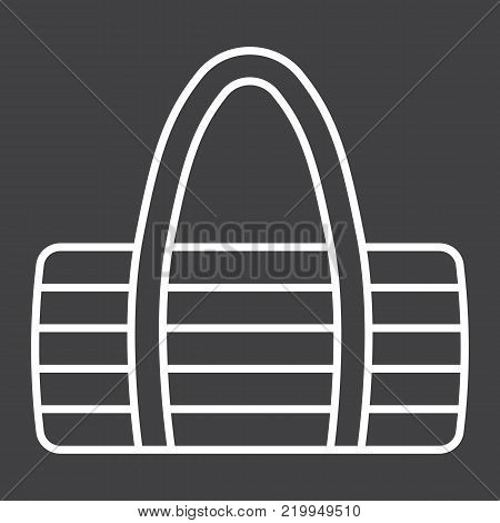 Fitness bag line icon, fitness and sport, sport bag sign vector graphics, a linear pattern on a black background, eps 10.