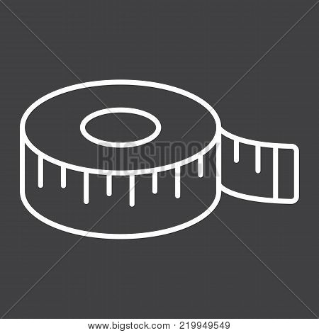 Measure tape line icon, centimeter and size, fitness ruler sign vector graphics, a linear pattern on a black background, eps 10.
