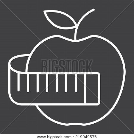 Apple with measuring tape line icon, fitness and sport, diet sign vector graphics, a linear pattern on a black background, eps 10.