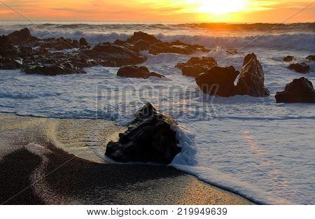 Beautiful sunset at Moonstone Beach, Cambria, California.
