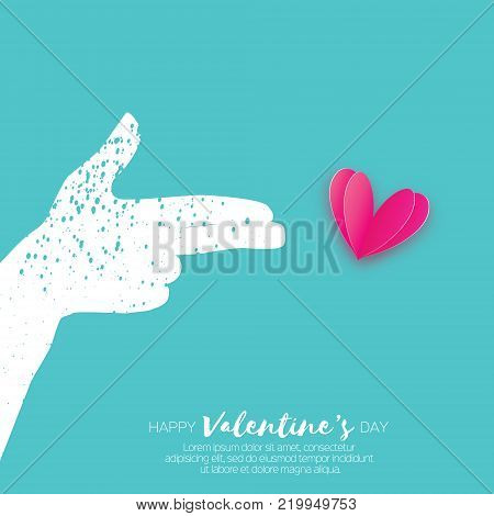 Hand making shape of pointed gun. Person holding Two fingers like a revolver. Love Bang. Pink Heart Shot in paper cut style. Valentine day. Romantic Holidays. Vector