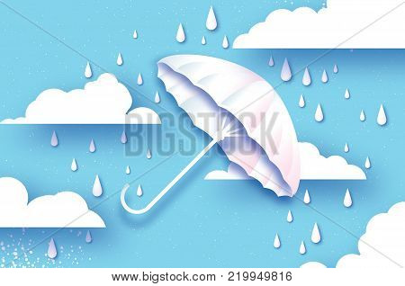 White umbrella. Air with raining. Origami Rain drop. Rainy weather. Protection and safety. Parasol on blue. Cloudy sky. Happy Monsoon season. Vector