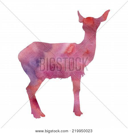 watercolor silhouette of female deer, hand drawn sketch of animals isolated at white background