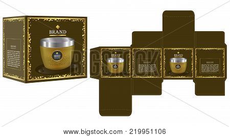 Packaging design, cosmetic container on luxury box design template and mockup box. illustration vector.