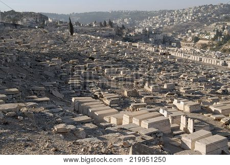 Ancient Jewish cemetery on the Mount of Olives, Jerusalem.