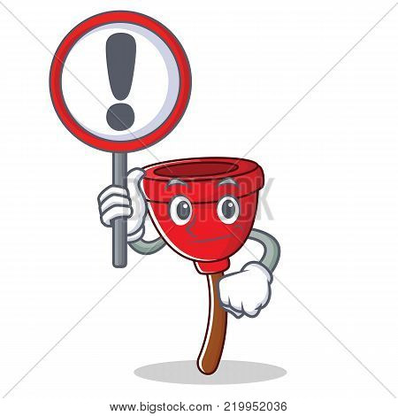 With sign plunger character cartoon style vector illustration