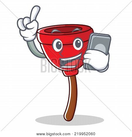 With phone plunger character cartoon style vector illustration