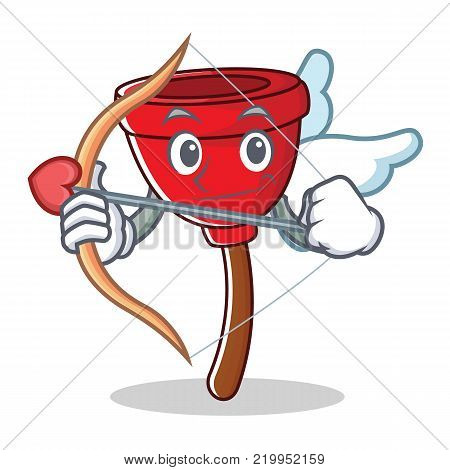 Cupid plunger character cartoon style vector illustration