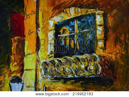 oil painting palette knife - Old yellow night building, orange house fragment, balcony with dark windows, white lantern lights, architecture, house, impressionism art