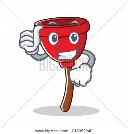 Thumbs up plunger character cartoon style vector illustration