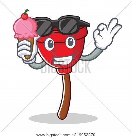 With ice cream plunger character cartoon style vector illustration