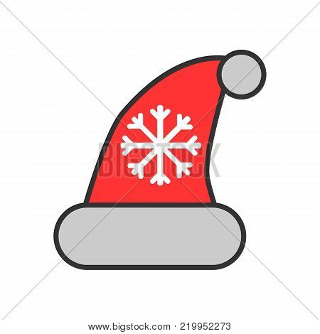 Christmass hat with pompom and snowflake isolated on white background. Christmass accessory colorful flat icon. Santa Clous hat vector illustration.