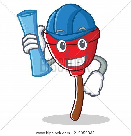 Architect plunger character cartoon style vector illustration