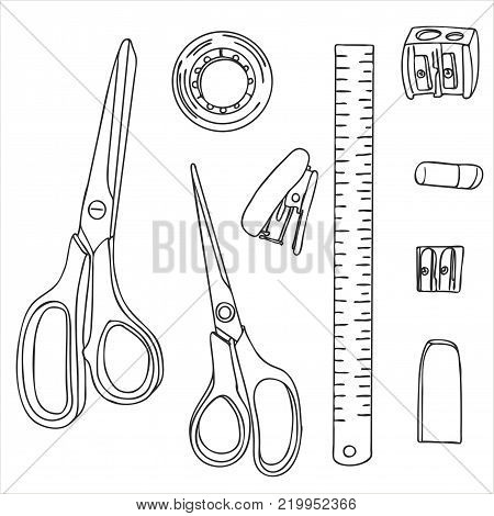 stationery, art materials, scissors, tape and ruler, pencil sharpener and stapler paper, line drawing , hand drawn vector illustration