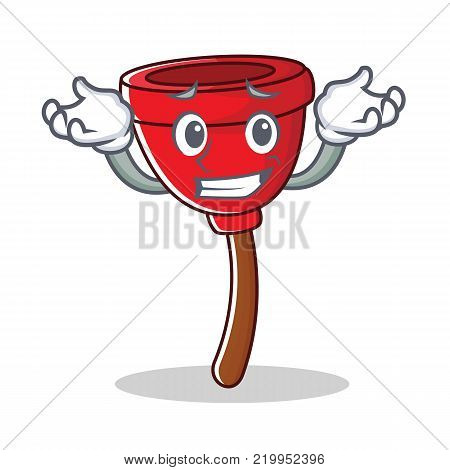 Grinning plunger character cartoon style vector illustration