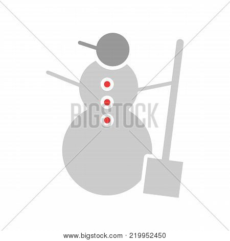 Snowman color vector icon isolated on white. Snowman illustration flat design.