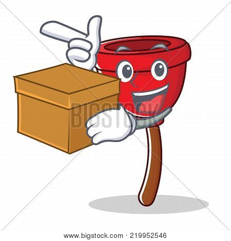 With box plunger character cartoon style vector illustration