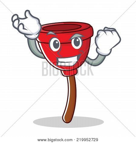 Successful plunger character cartoon style vector illustration