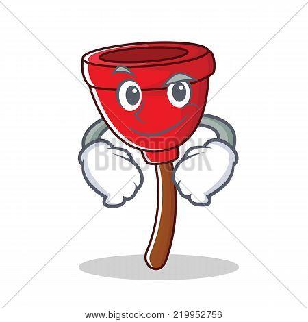 Smirking plunger character cartoon style vector illustration