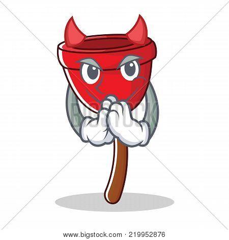 Devil plunger character cartoon style vector illustration