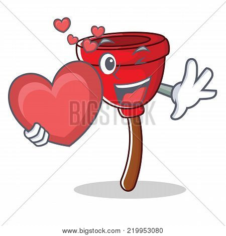 With heart plunger character cartoon style vector illustration