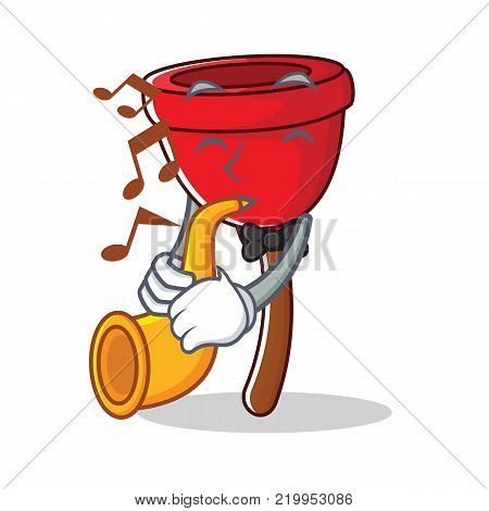 With trumpet plunger character cartoon style vector illustration