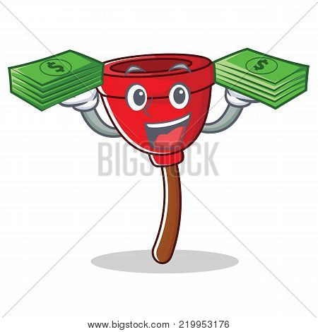 With money plunger character cartoon style vector illustration