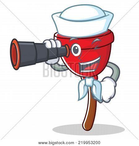Sailor with binocular plunger character cartoon style vector illustration