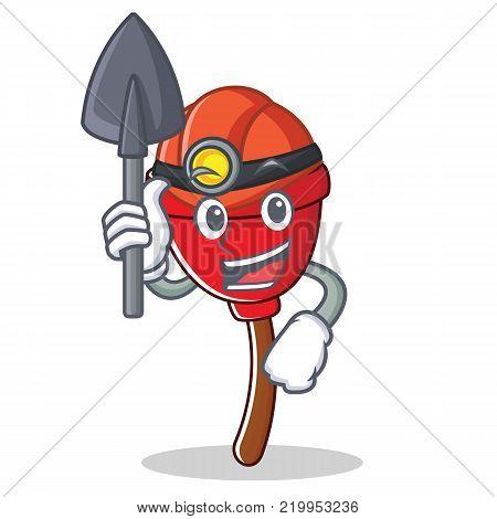 Miner plunger character cartoon style vector illustration
