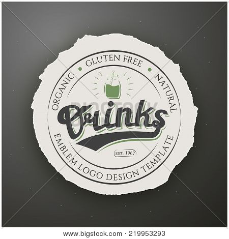 Round Badge Drinks Gluten Free with Hand Drawn Lettering on Torn Round Paper on Grey Background. Green Logo Emblem Vector Illustration. Can be used for Logotype, Branding.