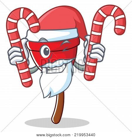 santa with candy plunger character cartoon style vector illustration