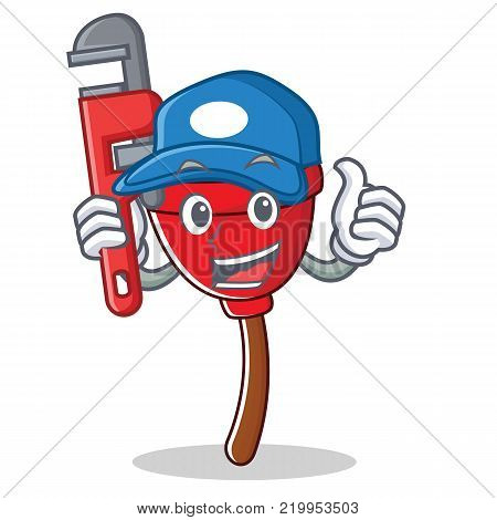 Plumber plunger character cartoon style vector illustration