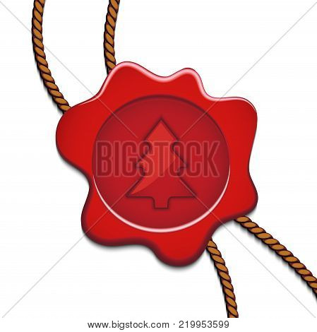 On the image presented Sealing wax postal seal with a fir-tree vectorial illustration.