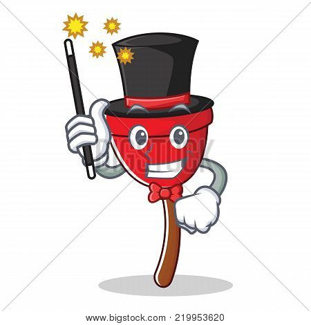 Magician plunger character cartoon style vector illustration