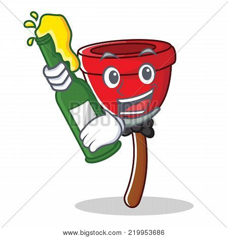 With beer plunger character cartoon style vector illustration