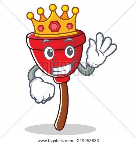 King plunger character cartoon style vector illustration