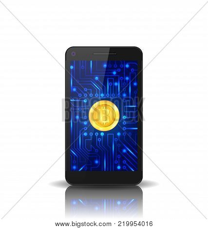 Bit-coin, BTC, Bit Coin, Crypto Currency, Concept of Mining Digital Money, Virtual Payment System - Illustration Vector