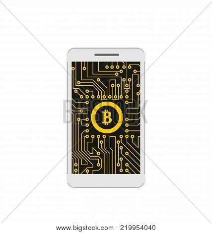 Bitcoin, BTC, CryptoCurrency, Concept of Mining Digital Money, Bit-Coin and Mobile Phone - Illustration Vector