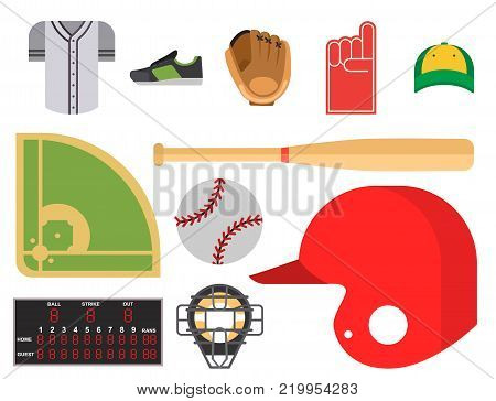 Cartoon baseball player icons batting vector design american game athlete winner sport. Champion league equipment competition man character and athletic sport patches.