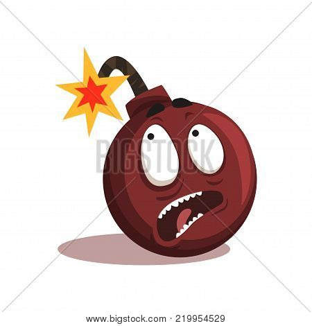 Cartoon emotion bomb with burning wick. Comic character with terrified face expression. Vector illustration in flat style isolated on white background. Graphic design for print, sticker, website icon.