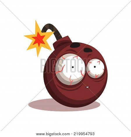 Illustration of round bomb with lit burning fuse. Cartoon character with shocked face expression. Flat vector design isolated on white background. Graphic element for sticker, badge or print.