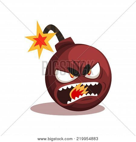 Bomb with lit burning fuse. Ready for explosion. Cartoon character with angry face expression. Graphic design for emblem, social network sticker or print. Isolated vector illustration in flat style.