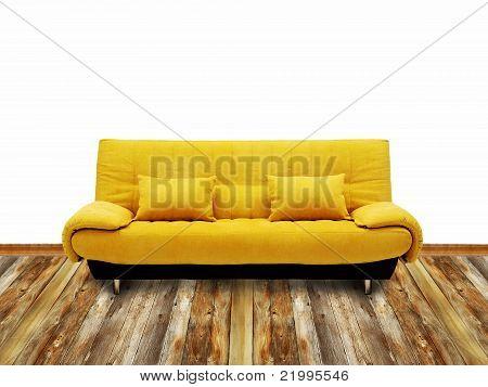 yellow sofa on the floor