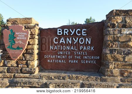 Bryce Canyon, Utah, USA - July 1, 2017: Entrance Sign to Bryce Canyon National Park in Utah. USA